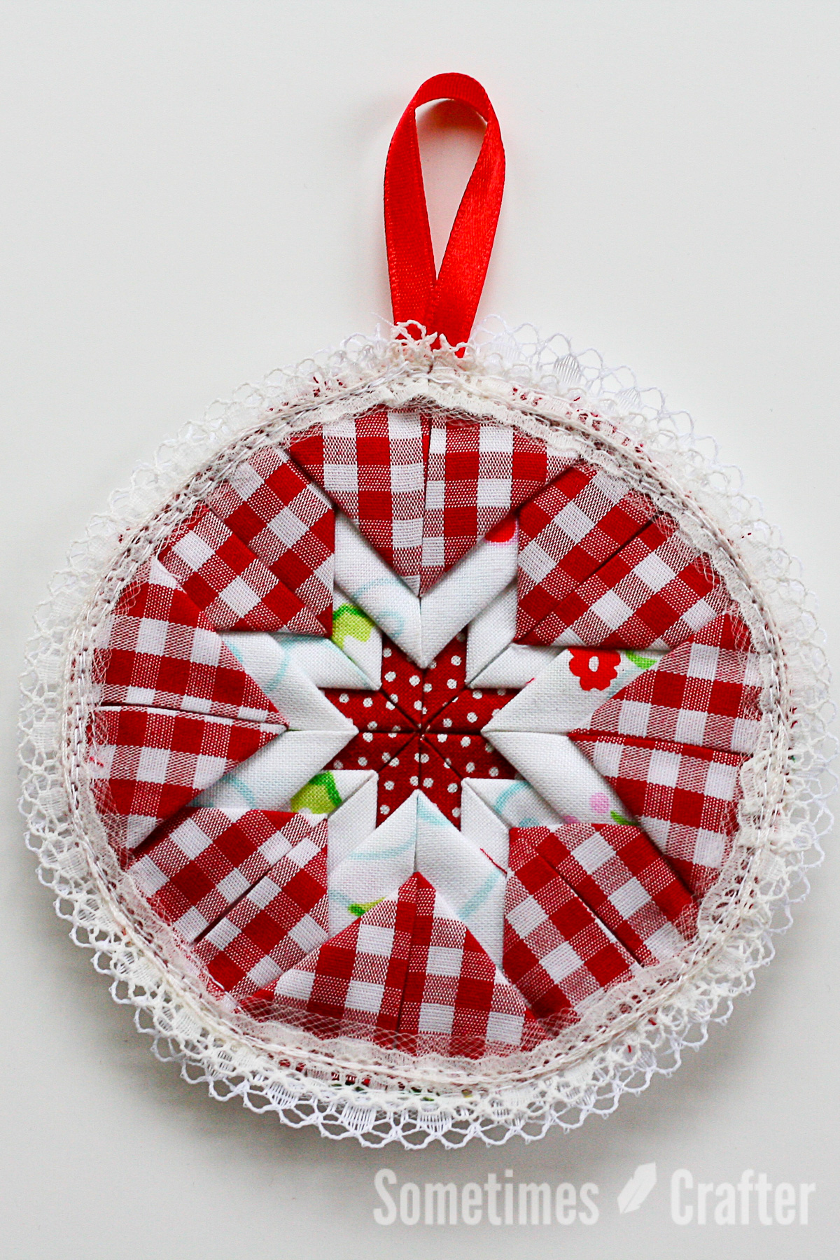 """""""Somerset Ornament Tutorial"""" is a Free Quilted Christmas Ornament Pattern designed by Christina from Sometimes Crafter"""